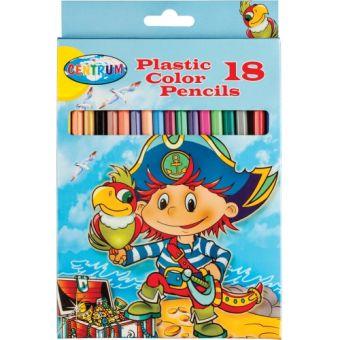 Карандаши цветные пластиковые PIRATE, 18 цветов,  длина 177мм,  картонняа упаковка