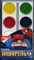 """Акварель Marvel """"Человек-паук"""" 8 цветов, в пластике, б/к"""