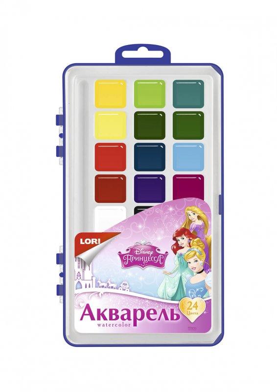 """Акварель Disney """"Принцессы"""" 24 цветов, в пластике, б/к"""