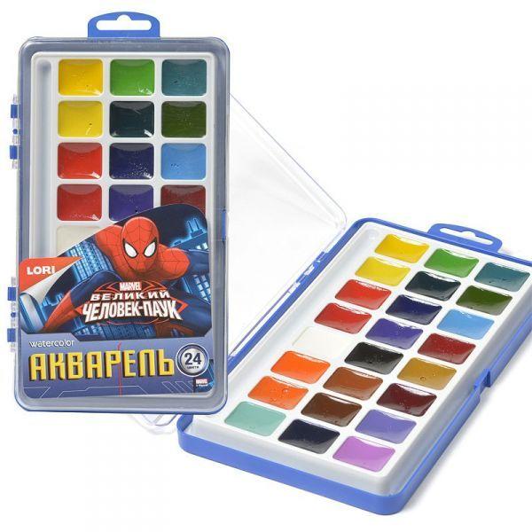 """Акварель Marvel """"Человек-паук"""" 24 цветов, в пластике, б/к"""