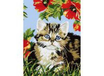 Живопись на холсте 30*40 см. Котенок в цветах (009-CE)