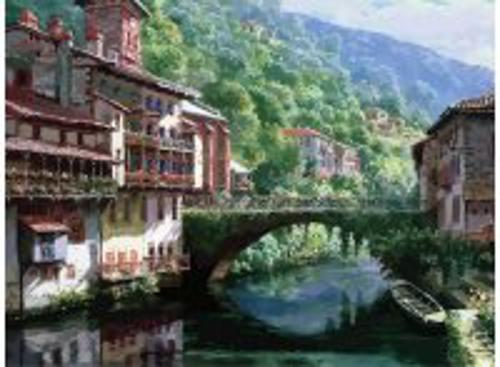 Живопись на холсте 40*50 см. Древний мост через Нив (632-AB)
