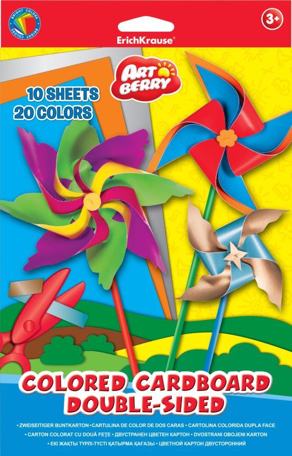 Цветной картон Artberry двусторонний мелованный В5 10 листов/20 цветов