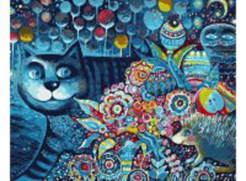 Набор для хобби и творчества Живопись на холсте 40*50 см. Индиго кот (083-АВ)