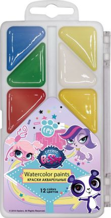 Краски акварельные (медовые), 12 цветов. Упаковка - пластиковая коробка с прозрачной крышкой, стикер - 4+0. Размер 8 х 15 х 1,2 см Упак. 48 шт.Littles