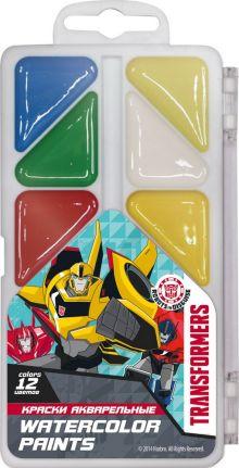 Краски акварельные (медовые), 12 цветов. Упаковка - пластиковая коробка с прозрачной крышкой, стикер - 4+0. Размер 8 х 15 х 1,2 см Упак. 48 шт.Transfo