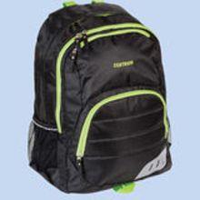Рюкзак спортивный 52*38*14 см, полиэстер, широкие мягкие регулируемые лямки, 2 отделения, 2 боковых кармана, цвет черный с зеленым кантом