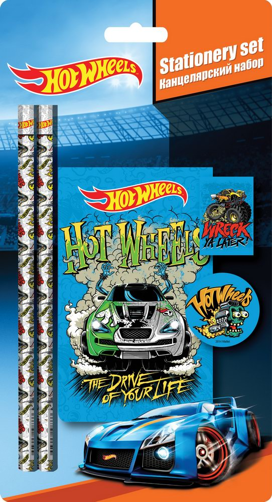 HWCB-US1-3623-BL5 Набор канцелярский в блистере: 2 Ч/Г карандаша, ластик, точилка, блокнот. Размер 24,8 х 12,8 х 1,5 см Упак. 15/120 шт.Hot Wheels (Ho