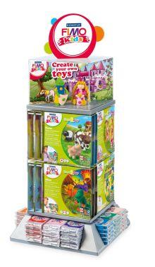 FIMO Kids настольный дисплей. Содержит 12 цветов по 8 блоков 8030 каждого, 24 набора form&play -8 видов по 3 шт. каждого
