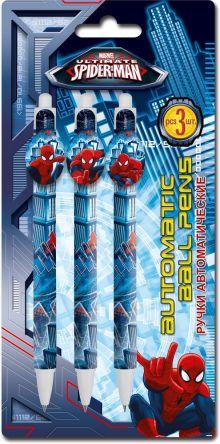 Набор из 3-х шариковых ручек с фигурным клипом в блистере Размер 10х 20,7 см Упак. 48/384 шт.Spider-man Classic