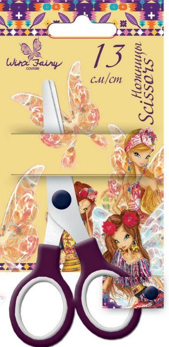 Ножницы 13 см, 1 шт. Гравировка логотипа на лезвиях. Упаковка -блистер, 500 г/м2, 4+1, европодвес. Размер 16 х 8 х 1 см Упак. 12/240 шт.Winx Fairy Cou