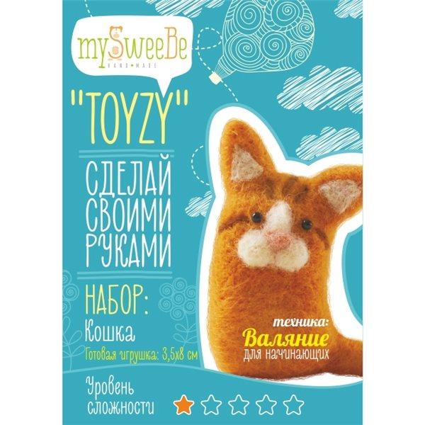 Набор TOYZY Кошка начальный - техника валяние набор для творчества toyzy техника валяние начальный уровень сова белая