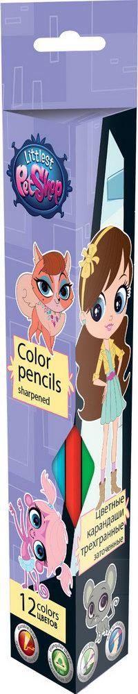 Набор цветных карандашей треугольной формы. Благодаря такому исполнению, ребенку легко и удобно держать карандаш в руке. Цветные карандаши 12 шт. длин