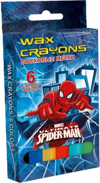Восковые мелки, 6 цветов, диаметр 10 мм. Упаковка - картонная коробка 4+0. Размер 6 х 13 см Упак. 24/96 шт.Spider-man Classic