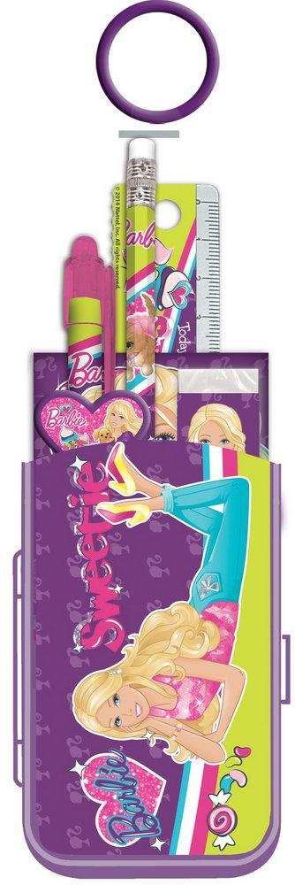 Набор канцелярский в ПП пакете с кольцом: карандаш ч/г с ластиком, пенал пластиковый складной, линейка прозрачная 15 см, ручка автоматическая, точилка