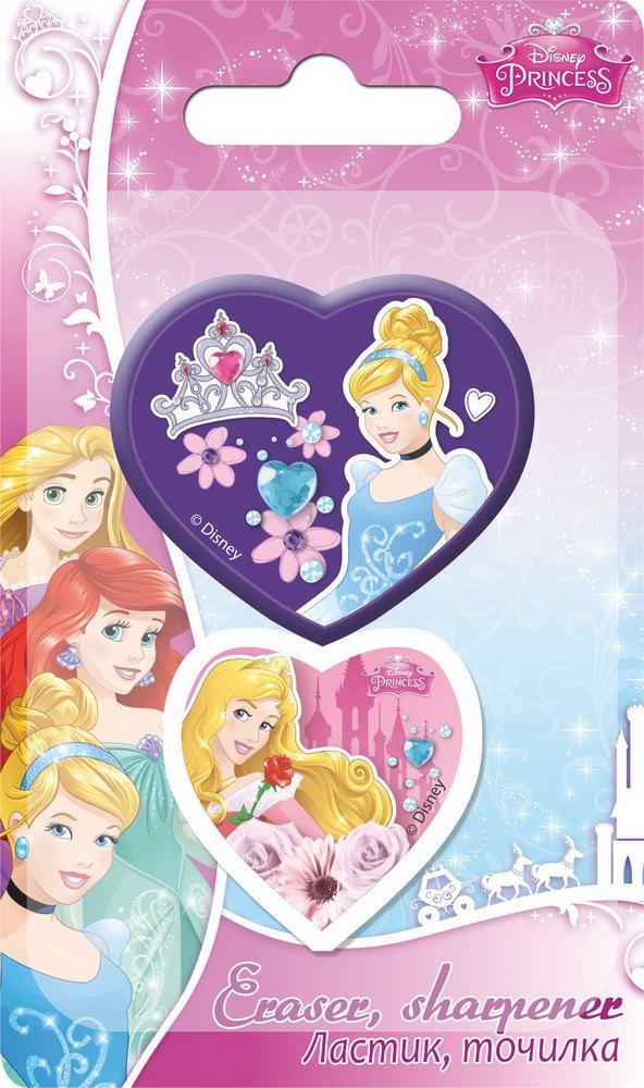 Набор канцелярский в блистере: точилка большая, ластик фигурный. Размер 13,5 х 8 х 1,5 см Упак. 40/400 шт.Princess