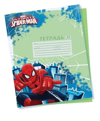 Обложки для тетрадей прозрачные с нанесением полноцветного изображения. 5 шт в наборе.  Размер 21,2 х 35 см. Упак. 150/300 шт. Spider-man Classic
