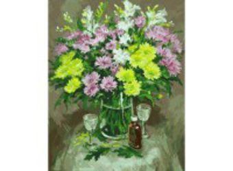 Живопись на холсте 40*50 см. Осенние хризантемы (067-АВ)