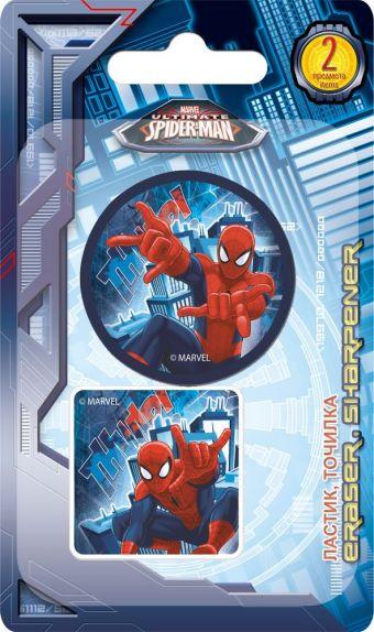 Набор канцелярский в блистере: точилка большая, ластик фигурный. Размер 13,5 х 8 х 1,5 см Упак. 40/400 шт.Spider-man Classic