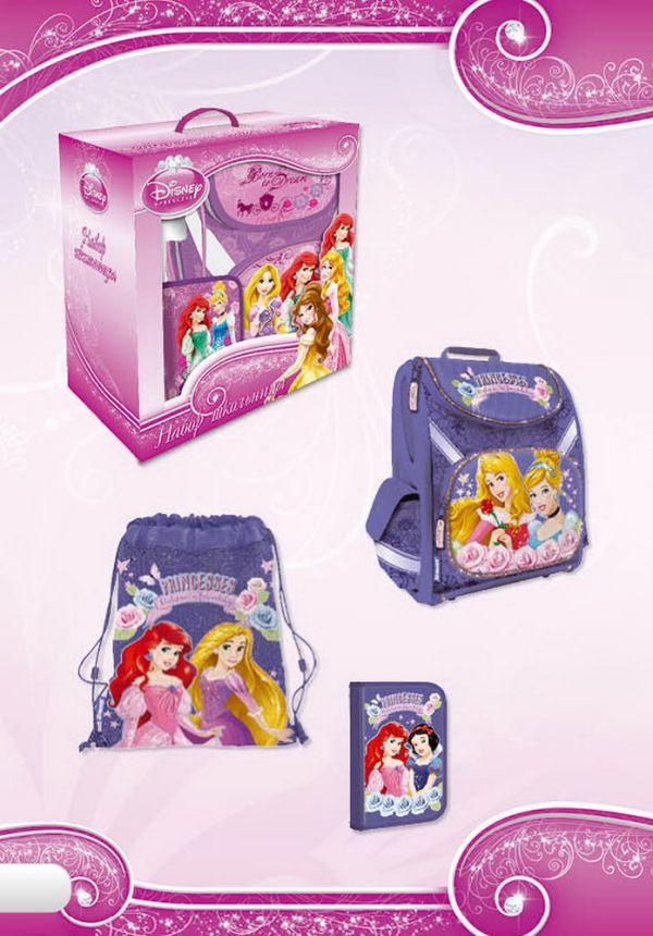 Набор школьника.Рюкзак эргономичный. Пенал для канцелярских принадлежностей. Сумка-рюкзак для обуви. Размер 38 х 21 х 43 см Упак. 2 шт.Princess