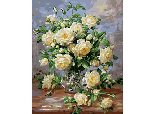 Живопись на холсте 40*50 см. Белые розы (373-AB)