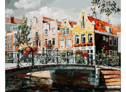 Живопись на холсте 40*50 см. Амстердам. Мост через канал (119-AB)