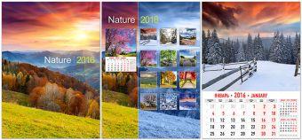 Календарь настенный, А3, на W-cпирали, 6л 7628 Природа