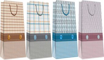 Пакет бумажный бутылочный, эффект: глянцевая поверхность,  микс из 3-х дизайнов, Размер 12 x 36 x 9,5 см, Упак. 12/300/600 шт.