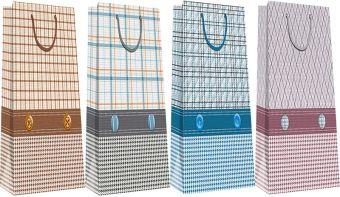 Канцтовар Пакет бумажный бутылочный, эффект: глянцевая поверхность,  микс из 3-х дизайнов, Размер 12 x 36 x 9,5 см, Упак. 12/300/600 шт.
