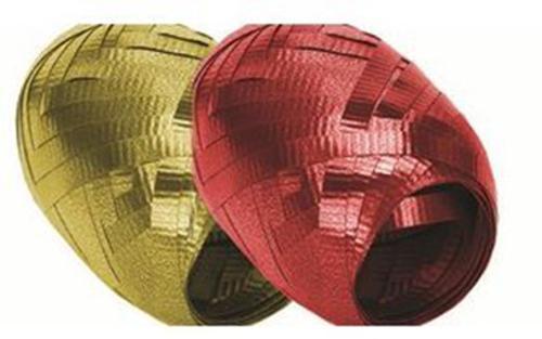 Набор из 2-х упаковочных металлизированных лент,  (золото, красный) в PP пакете с подвесом, размер 0,5 cм х 10 m, упак. /12/192 шт.
