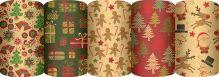 Новогодняя упаковочная крафт бумага для оформления подарков, Упак. по 50 шт. в коробку-дисплей, (5 дизайнов в ассортименте) размер 0,7 х 1,5 м, упак.
