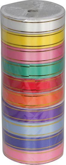 Лента с золотыми полосами по краям (на картонной катушке), для праздничной упаковки,  цвета в ассортименте, ? катушки 10,4 см,  Размер 1,8 см х 7,3 м,