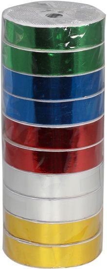 Металлизированная лента (на картонной катушке), для праздничной упаковки, цвета в ассортименте, ? катушки 10,4 см,  Размер 1,8 см х 7,3 м, Упак. 10/10