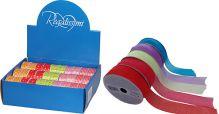 Лента прозрачная (органза) для праздничной упаковки подарков (на картонной катушке), цвета: голубой, фиолетовый, красный, розовый, салатовый, Размер л