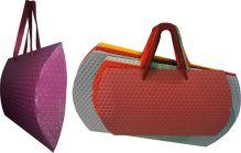 Пакет подарочный объемный складывающийся, с ручками-лентами, высокой плотности 350 gsm, эффект: фигурное тиснение, микс из 4-х цветов: бордо, голубой,