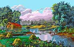 Живопись на холсте 30*40 см. Стога у реки (067-AS) набор для творчества хансибэг живопись на холсте 40 50см пионы в букете
