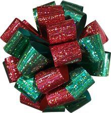 Подарочный двуцветный голографический бант, цвета банта (красный, зеленый), упакован в PP-пакет с хедером, Размер ? банта 7 см, Упак. /96/192 шт.