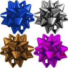 Набор из 4-х металлизированых бантов-звезд (больших) для праздничной упаковки.  цвета (золото, амарант, серебро, синий), Размер ? банта 12 см, Упак.
