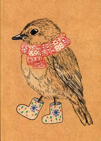"Блокнот ""Птичка в валенках"""