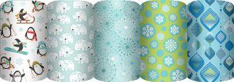 Упаковочная бумага супергладкая  65 gsm, (пр-во Россия), рулон в термоусадочной пленке, Упак. по 50 шт. в коробку-дисплей, (5 дизайнов в ассортименте)
