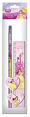 Набор канц. в ПП пакете с подвесом: линейка 15 см, карандаш с ластиком, точилка, ластик Принцессы