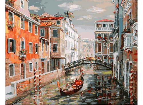 Живопись на холсте 40*50 см. Венеция. Канал Сан Джованни Латерано (125-AB)