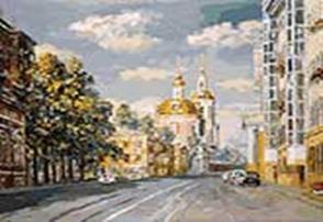 Живопись на холсте 40*50 см. Церковь Никиты Мученика в Старой Басманной слободе (116-AB)