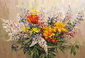 Живопись на холсте 40*50 см. Букет с желтыми лилиями (105-AB)