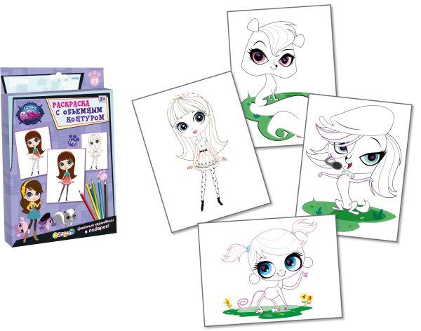 Раскраска (с объемным контуром). 4 листа, цветные карандаши (в подарок)., Littlest Pet Shop