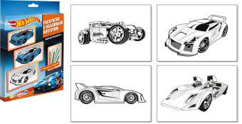 Раскраска (с объемным контуром). 4 листа, цветные карандаши (в подарок)., Hot Wheels