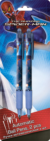 Ручки автоматические шариковые, цвет пасты синий, 2 шт. Spider-man