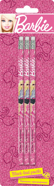 Карандаши ч/г BB, шестигранные с ластиком, 3 шт.Barbie
