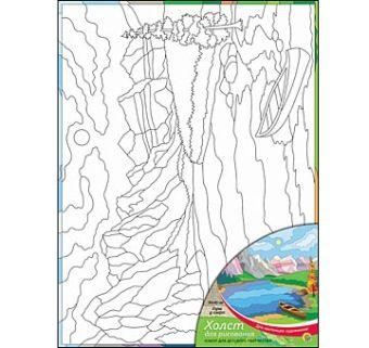 Холст с красками 30х40 см. ГОРЫ У ОЗЕРА (Арт. Х-0334)