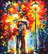 Живопись на холсте 60*80 см. Поцелуй под дождем (2005-AM)